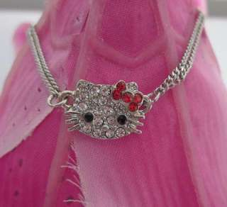 Cute hello kitty crystal red bow bracelet best gift Z21