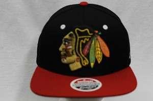 CHICAGO BLACKHAWKS NHL SNAPBACK HAT CAP REFRESH BLACK/RED