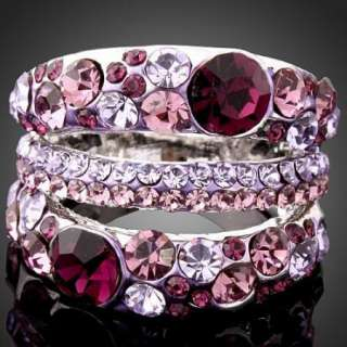 Amethyst Swarovski Crystal White Gold GP Fashion Ring