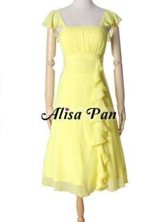 Falbala Yellow Ruffles Calf length Empire Line Bridesmaid Dress 03337