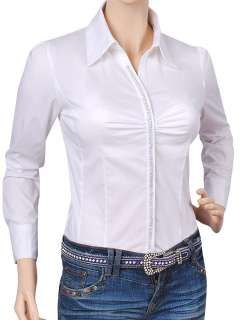 WHITE BLOUSE TOP SHIRT BODYSUIT W/RHINESTONE #170 XL