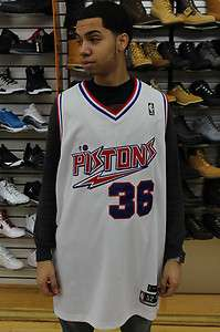 Detroit Pistons White Royal Blue Red Rasheed Wallace #36 Throwback