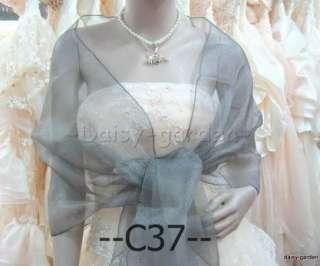 grey organza wedding ball wrap shrug Shawl Stole C37