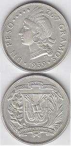 DOMINICAN REPUBLIC SILVER COIN 1 PESO KM 22 1939 XF++