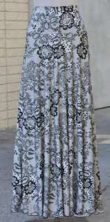 Flowy Full Long Maxi Skirt Banded Waist   Lace Print Black White   Sz