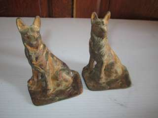 Vintage Cast Iron/Metal German Shepherd Dog sitting replica Book Ends