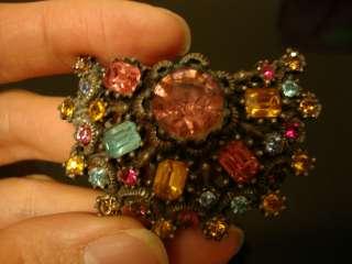 Vintage Coro multi colored brooch pin large rhinestones stone flower