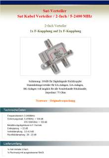 Sat Kabel Verteiler Splitter 2 Fach Satellit Sat Anlage