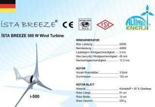 WINDGENERATOR, WIND TURBINE von iSTA BREEZE® 500W 12v WINDKRAFTANLAGE