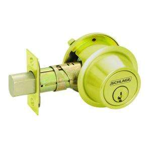 Single Cylinder Deadbolt, Bright Brass B560ZP605