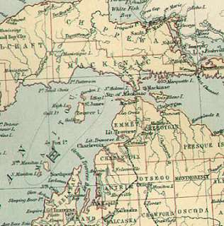 GREAT LAKES STATES authentic Antique Map 31x43cm genuine 132 years old