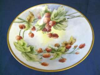 ANTIQUE HAND PAINTED RASPBERRY COMPOTE BOWL