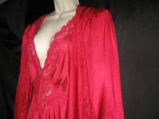 Vintage OLGA Red Nylon Long Nightgown & Robe Peignoir Set LG