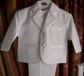 Baby Boy whiteTuxedo suit/Christening Baptism/wedding/small/3 6 months