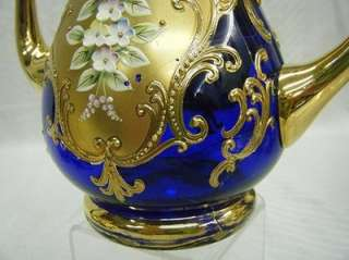 Cobalt Blue Glass Gold Gilt Raised Enamel Tea Set Cups&Saucers