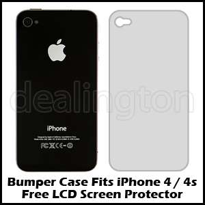 Apple iPhone 4 4G 4S White+Clear Bumper Case Metal Buttons AT&T