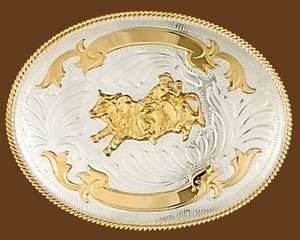 Western Rodeo German Silver & Gold Bull Riding Trophy Belt Buckle 5 x