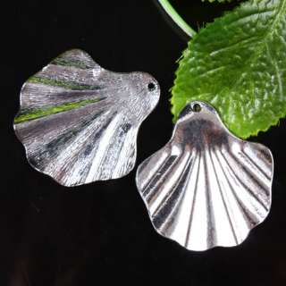 Shell Tibetan Silver Pendant Charms Metal Finding 3Pcs