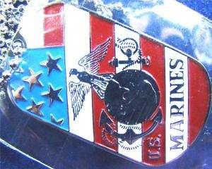 USMC MARINES CORPS SEAL INSIGNIA FLAG DOG TAG PENDANT