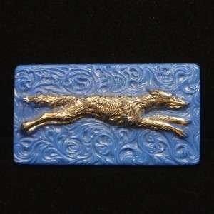 Greyhound Dog Pin Vintage Art Deco Glass & Silver Brooch Figural