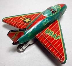 VINTAGE TIN USAF LITHO FIGHTER JET * JAPAN/FRICTION * $25.00
