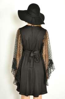 Vtg 70s Black SHEER BELL SLEEVE DOT Boho Hippie MINI Dress XS/S