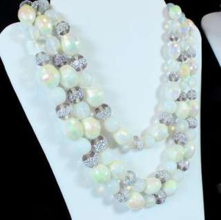 of 19   Blue White Clear Aurora Crystal Bead Glass Necklace Jewelry