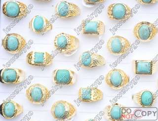 Wholesale Lots 25 Turquoise gold p Mens Rings free ship