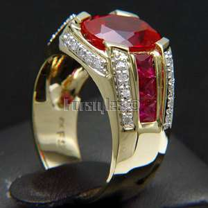 Created Ruby Diamonds 14K Solid Gold Mens Ring r10200