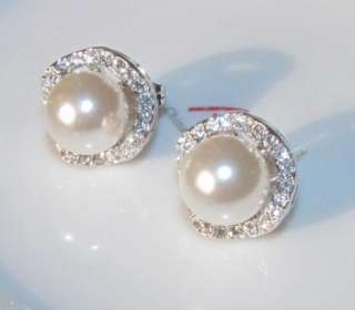 18K White gold GP SWAROVSKI CRYSTAL pearl EARRING