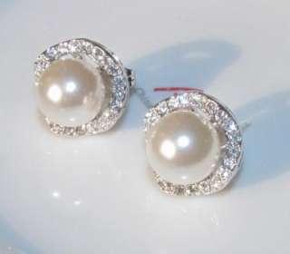 18K White gold GP SWAROVSKI CRYSTAL pearl EARRING