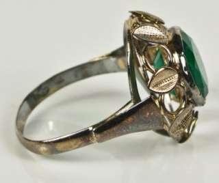 Antique 14K Rose Gold 3.55ct Bezel Set Deep Green Emerald Ring 3.2g