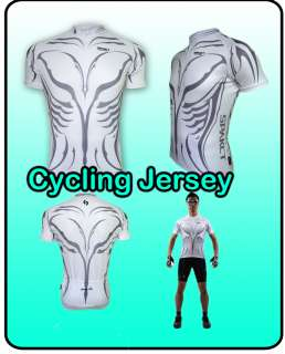 White Mens S/S Short Sleeve Biking Cycling Jersey Bicycle 3 Pocket
