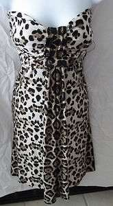 NWT Coco Bianco Strapless XL Leopard Print Dress