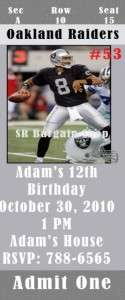 Birthday Invitations Oakland Raiders Personalized ★