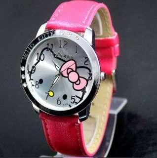 helloKitty 6 Crystal Girls Quartz Wrist Watch KT cat watches