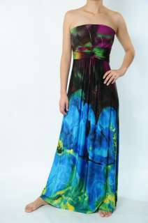 NWT Ladys/Womens Colourful Printed Big Flower Long Maxi Dresses 3012
