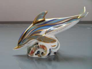 ROYAL CROWN DERBY   STRIPED DOLPHIN   MINT CONDITION  1ST QUALITY GOLD