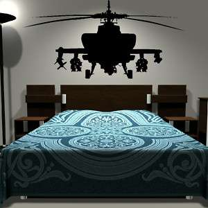 Army HELICOPTER kids bedroom wall art stickers childrens decal graphic