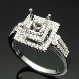 14k WHITE GOLD DIAMOND SEMI MOUNT ENGAGEMENT RINGS SETTING Square