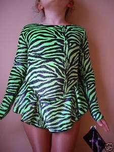 NWT 7y Green Black Velvet Ice Skating Twirling Baton Dance Dress