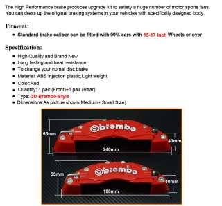Universal Disc Brake Caliper Cover Brembo Style Medium+Small Red 3D