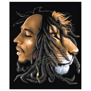 Bob Marley Lion Micro Raschel Fleece Blanket:  Home