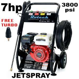 New Rotech Jetspray 7hp 3800psi High Pressure Washer Water Cleaner