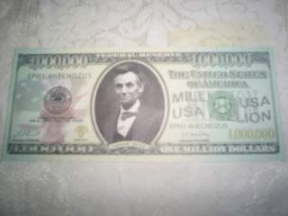MILLION DOLLAR BILL NOVELTY/PLAY MONEY *MINT* ABRAHAM LINCOLN