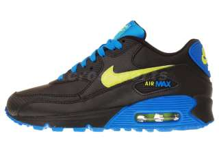 Nike Air Max 90 GS Black Volt Photo Blue Youth Running Shoes 307793