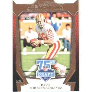2010 Topps Football Card #75DA 1 Joe Montana San Francisco 49ers 75th