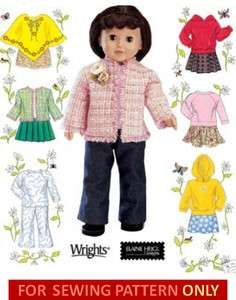 DOLL CLOTHES PATTERN FITS AMERICAN GIRL MOLLY~JULIE~IVY