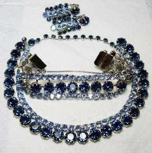 SUPER~FENICHEL Vintage Rhinestone Necklace Bracelet Earrings Parure