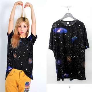 loose fitting stellar starry sky prints mini dress galaxy t shirts top